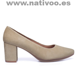 zapatos beige tacon medio